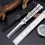 BLACK Silver Stainless Steel Practice Butterfly In Knife Balisong Trainer Training Folding Knife