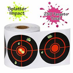 "Gearoz Splatter Target Stickers For SHOOTING-3"" Bulleye High Visibility Reactive Fluorescent Yellow Impact 250 Targets"