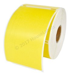 """HouseLabels 6 Rolls 300 Labels Per Roll Of Dymo-compatible 30256 Yellow Large Shipping Labels 2-5 16"""" X 4"""" -- Bpa Free"""