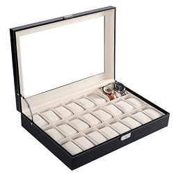 Kality Benlet 24 Compartment Watch Case Large Mens Pu Leather Display Watch Box Glass Top Jewelry Watch Case Organizer