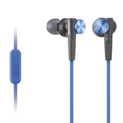 Sony Premium Lightweight Extra Bass Earbud Headphones With In-line Microphone And Remote For Android Smartphone Blue