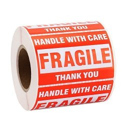 """MFLABEL 2 Rolls Fragile Tapes - 2""""X3"""" Handle With Care Stickers Thank You Shipping Labels - 1000 Labels"""