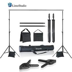 LimoStudio Photo Video Studio 10 Ft. Width Adjustable Background Stand Backdrop Support Structure System Kit With Photo Clamp An