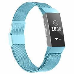 Poy Compatible For Fitbit Charge 3 Bands Replacement Wristbands For Fitbit Charge 3 Se Fitness Activity Tracker Metal Stainless Steel Bracelet Strap With Unique