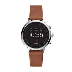 Women's Fossil Gen 4 Venture Hr Stainless Steel And Leather Touchscreen Smartwatch Color: Silver Brown Model: FTW6014