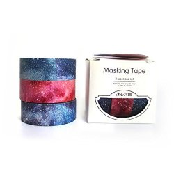 MiiSii 1 PACK 3 Rolls Galaxy Decorative Masking Washi Tapes For Scrapbooking Album Journal Gift Packing 3 Rolls X 15MM Wide