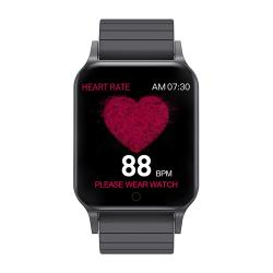 Body Temperature Monitor Bakeey T96 Heart Rate Blood Pressure Oxygen Monitor Custom Dial Music Control Smart Watch - Black