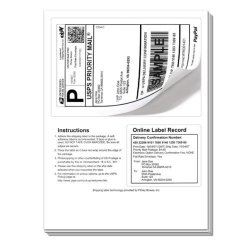 Universal Label 50 Click Ship Labels With Tear Off Receipt. These Should Be Used If You Are Printing Online Postage With Popular Internet Shipping Sites. Print