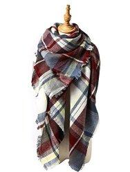 Zando Soft Warm Tartan Plaid Scarf Shawl Cape Blanket Scarves Fashion Wrap Red Gray