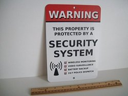 """Security Signs Home Security Alarm System 7"""" X 10"""" Metal Yard Sign - Stock 704"""