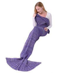 Abc Outlet Mermaid Blanket Knitted Mermaid Sleeping Bag For Bed Sofa Couch Soft All Seasons Crochet Mermaid Tail Blanket Mermaid
