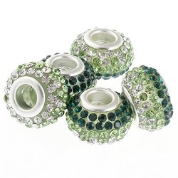 RUBYCA Big Hole Czech Crystal Large Charm Beads Fit European Bracelet 20PCS 15MM Green White