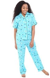 59d0f7f2a ALEXANDER Del Rossa Womens Cotton Pajamas Woven Pj Set With Pants Small  Teal Dots With Midnight Blue Piping A0518V58SM