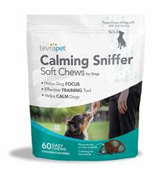 Tevrapet Dog Calming Treats - Aids Stress Anxiety Storms Barking Separation And More - Made In Usa - Contains L-trytophan Pheremones Thiamine And Niacin