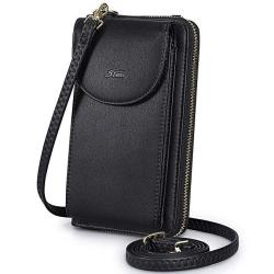 S-ZONE Pu Leather Rfid Blocking Cellphone Wallet Clutch Purse Crossbody Bag Phone Pouch For Women