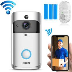 Eken V5 720P Wireless Wifi Smart Video Doorbell Support Motion Detection & Infrared Night Vision & Two-way Voice Package 2: Doorbell + Chime + 3 X 18650 Batteries Silver