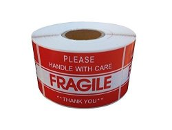 "BESTeck Proline 3""X5"" Fragile Tapes Stamp - Handle With Care Thank You Stickers - 1000 Labels Per Roll Shipping Labels 2 Rolls"