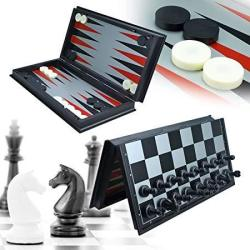 Jimiyoki 3 In 1 Game Set -chess Checkers Backgammon Pieces Travel Chess Set Magnetic Foldable Chess Set Portable Board Game For