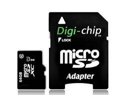 Digi-Chip 64GB Class 10 Micro-sd Memory Card For Blackberry Z30 Blackberry Leap Blackberry Classic And Blackberry Passport Smartphones
