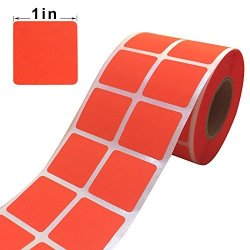 "Wootile 1"" Inch Square Fluorescent Orange Red Color Coding Dot Labels - 1 000 Colored Square Stickers Per Roll"