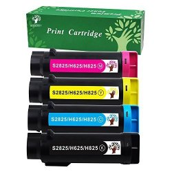 GREENSKY Compatible Toner Cartridge Replacement For Dell H625 H825 S2825- 4 Packs 1BLACK 1CYAN 1YELLOW 1MAGENTA Pages 3 000 & 2 500