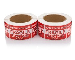 """Saurus Brands Handle With Care fragile do Not Drop thank You Fragile Shipping Stickers Moving Labels 1 000 Labels 2 Rolls 500 Per Roll 2""""X3"""" By Labelbasics"""