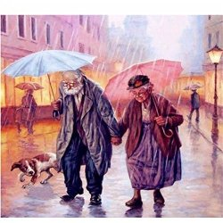 Kuwoolf Full 3D Diy Daimond Painting Round Rhinestones Diamond Painting Embroidery Loving Old Couple