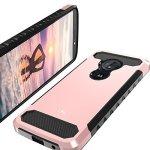LK Moto G6 Play Case Carbon Fiber Shock Absorption Hybrid Armor Defender Protective Case Cover For Motorola Moto G Play 6TH Gene
