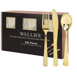 300 Pieces Gold Plastic Cutlery Premium Quality Disposable Silverware Polished 100KNIVES 100FORKS 100SPOONS Heavy Duty Flatware