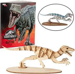USA Jurassic World Raptor Dinosaur Toy Model Figure Kit - Build Paint And Collect A Velociraptor 3D Wood Model - With Exclusive Jurassic World Movie Book