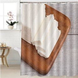 Shower Curtain Gzhihine Sheep Milk Cheese Wooden Cutting Board Bathroom Accessories 36 X 78 Inches