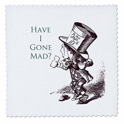 3DROSE QS_110410_3 Mad Hatter Have I Gone Mad Alice In Wonderland Quilt Square 8 By 8