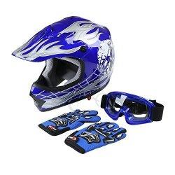 TCMT Dot Youth & Kids Motocross Offroad Street Helmet Pink Butterfly Motorcycle Helmet White Dirt Bike Dirt Bike Helmet+goggles+gloves XL Blue