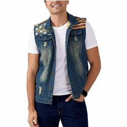 Dohaooe Men's Sleeveless Jacket Button Down Casual Lapel Denim Vest Ripped Hole Plus Size American Flag Xxl- Tag 5XL Bust 44.5