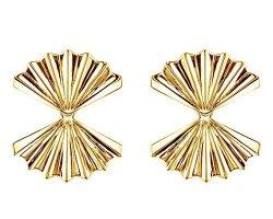 18K Yellow Gold Over Sterling Silver Double-fan Stud Earrings