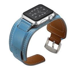 e3e96405872 EloBeth Compatible Apple Watch Band 42MM Iwatch Band Apple Watch Genuine Leather  Band Buckle Cuff Bracelet Wrist Watch Band With