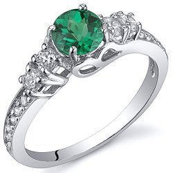 Peora Simulated Emerald Solstice Ring Sterling Silver Size 8