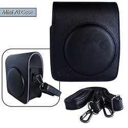Xtech Custom Case For Fuji Instax MINI 70 With Detachable Strap Made Of Pu Leather Exterior And Soft Inner Lining Black
