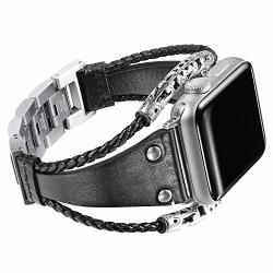 Secbolt Leather Bands Compatible Apple Watch Band Series 4 44MM Series 3 2 1 42MM Double Twist Handmade Vintage Natural Leather Bracelet Replacement Bracelet Straps Women Black 2