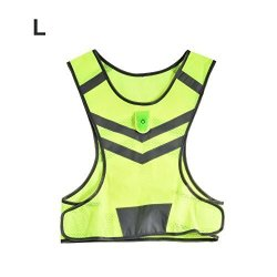 Alomejor Night Running Vest Sports Safety High Visibility Night Running Fluorescent Yellow LED Reflective Running Cycling Vest W