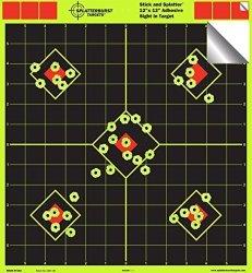 Splatterburst Targets 12X12 Sight In Adhesive Splatterburst Shooting Targets - Instantly See Your Shots Burst Bright Fluorescent
