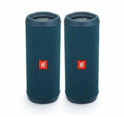 JBL Flip 4 Waterproof Portable Wireless Bluetooth Speaker Bundle - Pair Ocean Blue