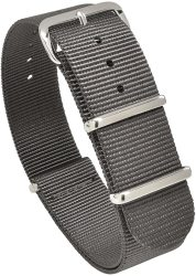 Nato Skull 20MM Nato Watch Band Strap With Stainless Steel Buckles In Grey