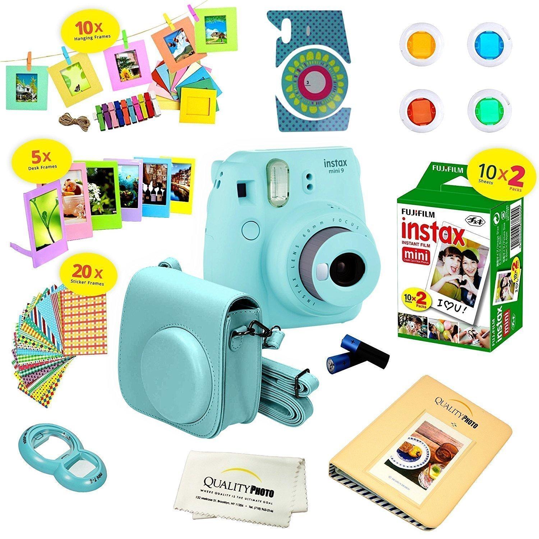 Fujifilm Instax Mini 9 Instant Camera in Ice Blue with Film & Accessories