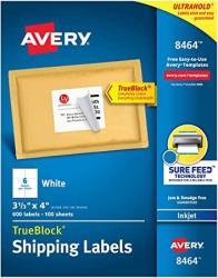 USA Avery Shipping Address Labels Inkjet Printers 600 Labels 3-1 3X4 Labels Permanent Adhesive Trueblock 8464
