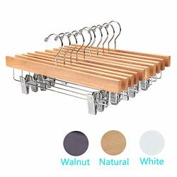 Nature Smile Solid Lotus Wood Deluxe Wooden Pants Hangers Bottom Hanger Jeans Hanger Skirt Hanger With 2 Adjustable Clips Anti R R148000