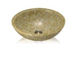 Lenovo SV-14 Stone Vessel Round Bowl Bathroom Sink Honey Onyx Mosaic