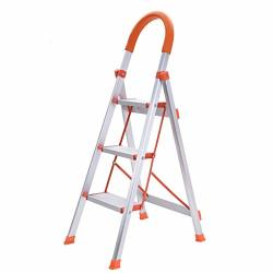Folding Step Ladder With Handles Mosunx 2 Step 300 Lbs 3 Step 330 Lbs Lightweight Portable Indoor outdoor Ladder With Wide Anti-slip Pedal WHITE?3 Step?aluminum Alloy