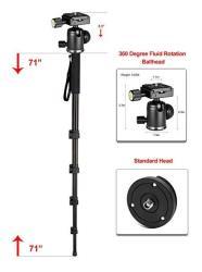 "Professional Heavy Duty 72"" Monopod unipod Dual Optional Head For Sigma Super Wide Angle 20MM F 1.8 Ex Aspherical Dg Df Rf Macro"