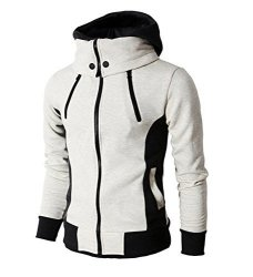 Localmode Men's Double Zipper Hooded Jacket Turtleneck Fleece Hoodie Coat White M